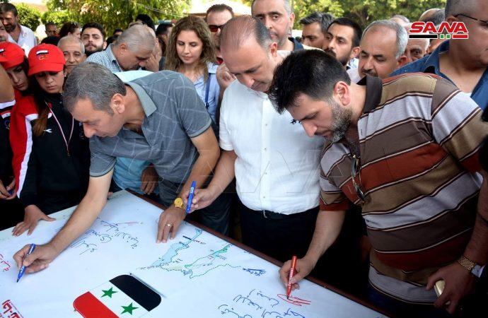 فعالية توقيع أطول رسالة دعم لأهالي الجولان تحطّ رحالها في اللاذقية