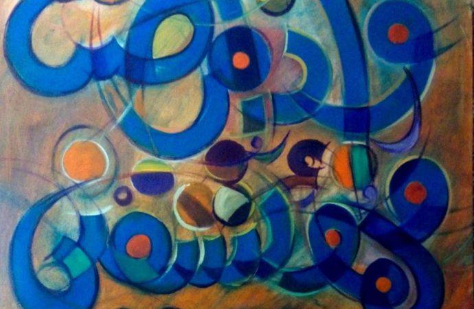 لوحات معرض فداء منصور بلمسات دائرية